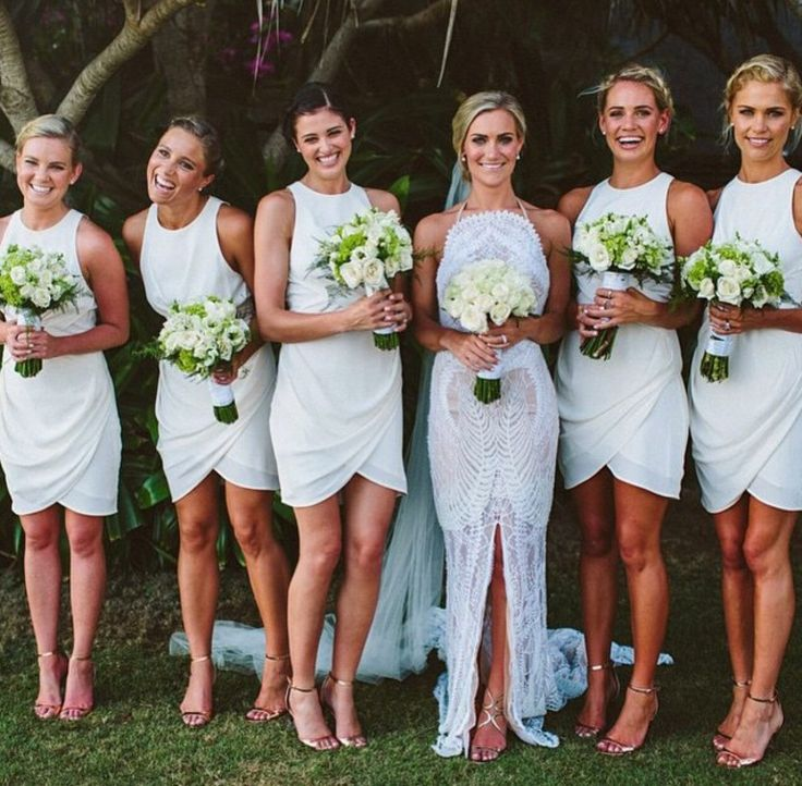 White Bridesmaid Dresses Short Gown Summer Gowns Beach Dress Fall For Modest Brides