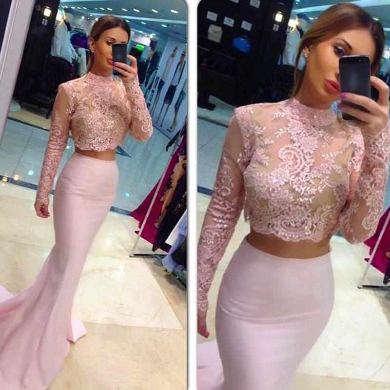 004421b1cb Two-Piece Mermaid Prom Dresses High Neck Long Sleeves Lace Pink Evening  Gowns For Teens