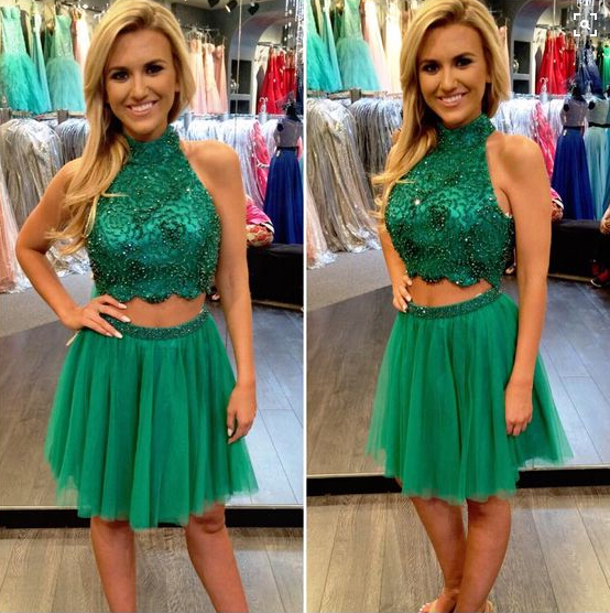Homecoming Dresses,Junior Homecoming Dresses,2 pieces homecoming dress, Green beaded homecoming dress, short homecoming dresses, 2016 homecoming dress, short prom dresses, homecoming dress