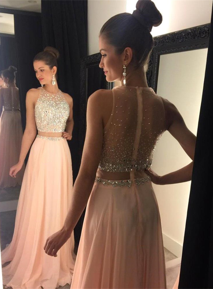 Blush Pink Chiffon Long Prom Dresses,Pretty Beading Prom Gowns For ...