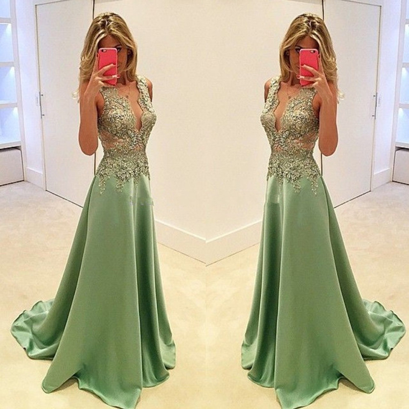 Charming Deep V-neck Prom Dresses,Evening Dresses Long Party Dresses,Beautiful Sage Handmade Prom Gowns