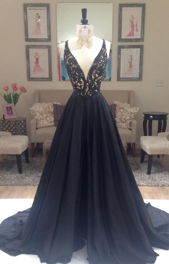 9debd26b41b Deep V-neck Lace Long Prom Dresses