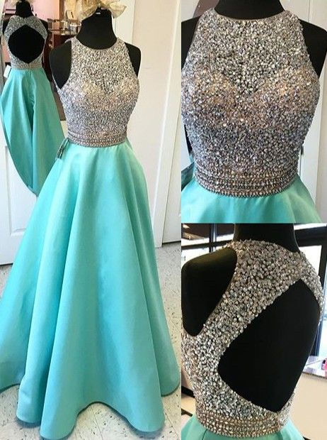 Cap Sleeves Long A-line Teal Prom DressesmBeading Open Back Satin Prom Dresses,Modest Evening Dresses,Party Prom Dresses,Pretty Prom Gowns