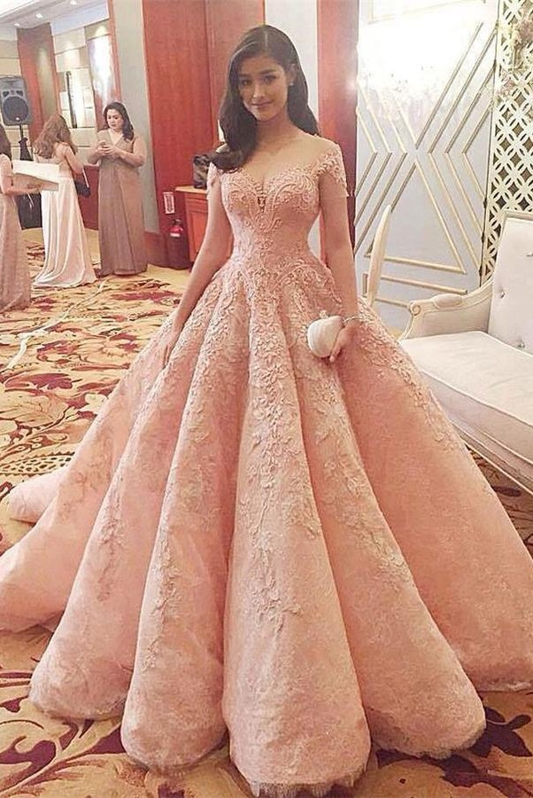 ab6a6bb432 Evening Dresses, Prom Dresses,Sparkly Gorgeous Long A-line Prom  Dresses,Quinceanera Dresses,Modest Prom Dress For Teens,Pink Prom Gowns