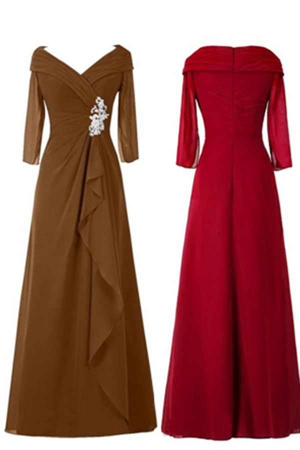 Evening Dresses, Prom Dresses,Long Sleeves Brown Chiffon Beading Handmade Simple Cheap Modest Prom Dresses,Evening Dresses,Mother Of The Bridal Dresses