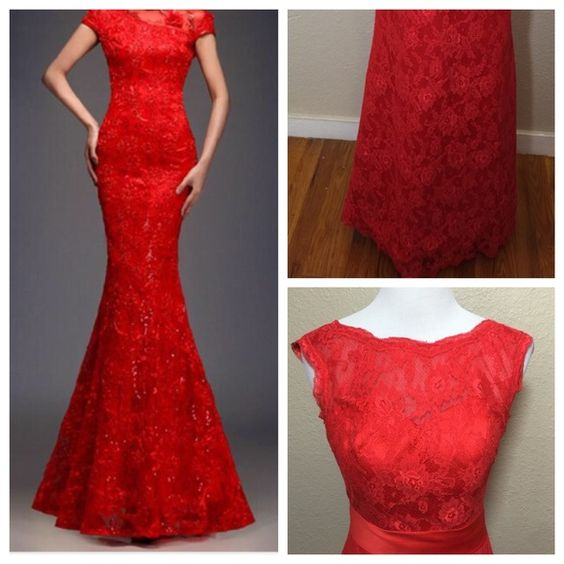 Evening Dresses, Prom Dresses,Red Prom Dresses,Prom Dress,Red Prom Gown,Lace Prom Gowns,Elegant Evening Dress,Modest Evening Gowns,Simple Party Gowns,Lace Prom Dress