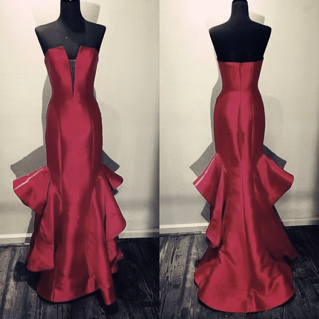 Evening Dresses, Prom Dresses,Party Dresses,New Arrival Prom Dress,Modest Prom Dress,strapless prom dress,long satin prom gowns,mermaid evening dress,long formal dress,ruffles dress,prom dress 2017