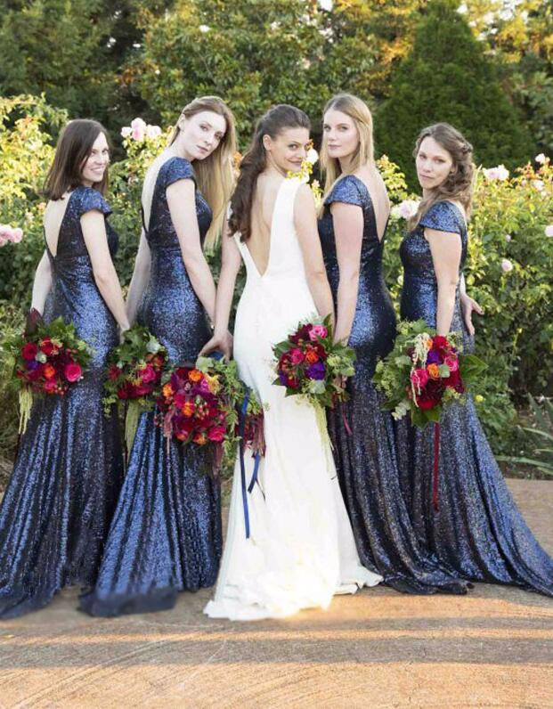 bb5dcf8d89 Blue Sequin Bridesmaid Dresses,Mermaid Bridesmaid Dress,V-Back Bridesmaid  Dress,Cheap Bridesmaid Dress, Wedding Party Dresses,Long Bridesmaid ...