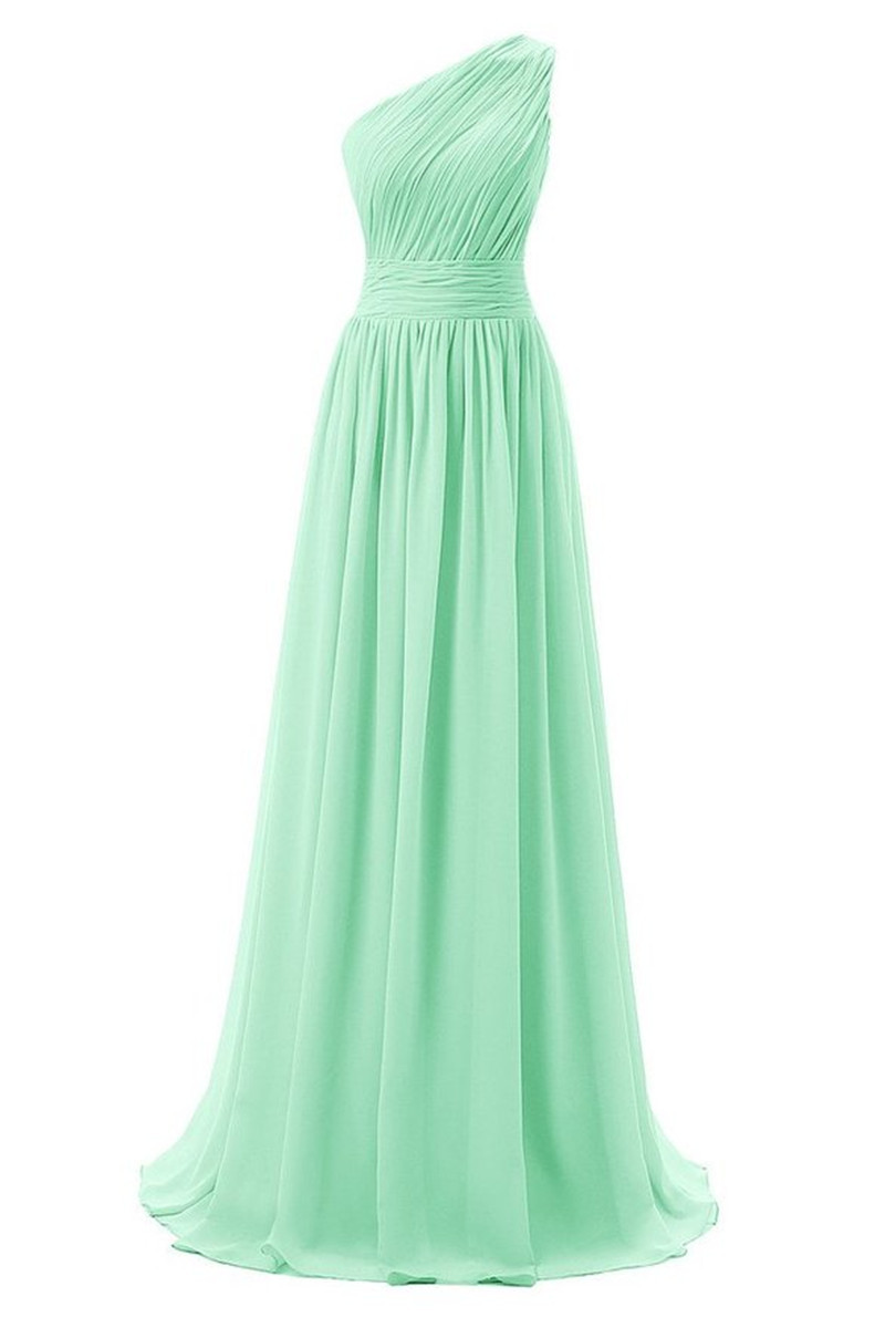 Evening Dresses, Prom Dresses,Party Dresses,Beautiful Handmade Mint Green Long Prom Dresses, One Shoulder Bridesmaid Dresses, Mint Green Bridesmaid Dresses, Bridesmaid Dresses