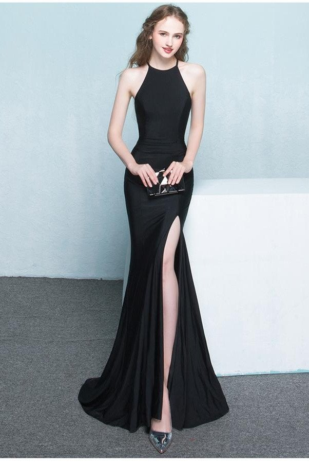 4506e28f3283f Prom Dress, Beautiful Long Front Split Prom Dresses,Charming Simple Cheap  Prom Gowns,Evening Gowns,Black Elegant Prom Dresses,High Quality Graduation  ...