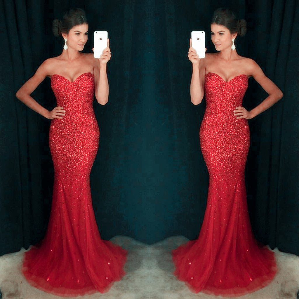 a216288a Sexy Sweetheart Prom Dresses, Red Sequin Prom Dresses, Mermaid Prom Dresses,Tulle  Prom