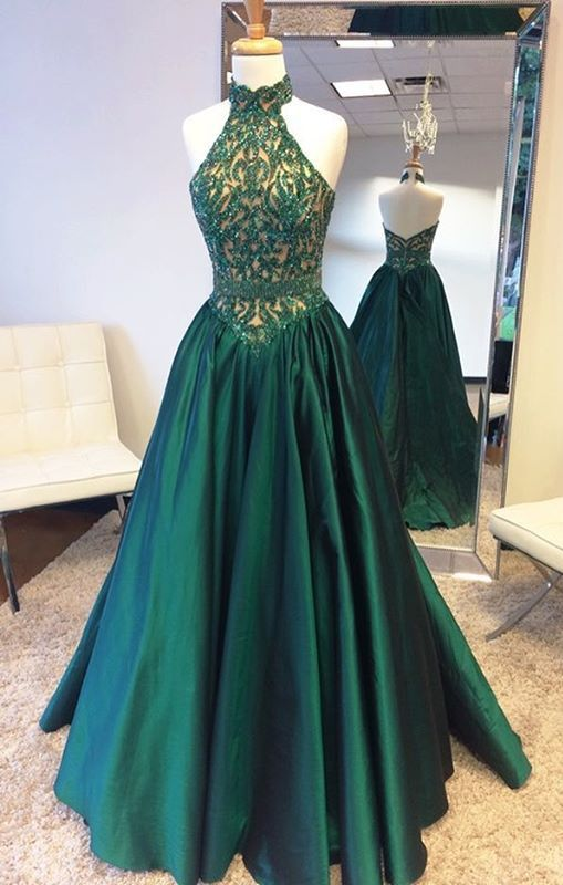 Elegant Halter Sweep Train Hunter Prom Dress With Lace Beading ...