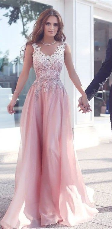 0394f318d47e5 Pink Round Neck Lace Long Prom Dress, Pink Bridesmaid Dresses, Woman Formal  Wedding Dress, Appliques Sleeveless Pink Floor-Length A-Line Evening ...