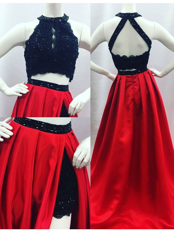 Elegant A-line Round Neck Open Back Split Sweep Train Red Prom Dress with Lace Beading