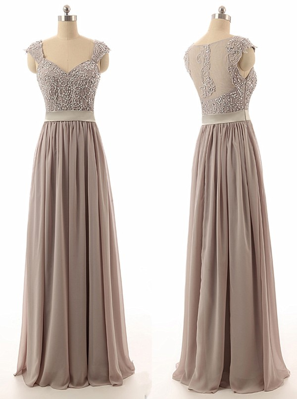 0d51d67c30e6 Floor Length Chiffon A-Line Pleated Bridesmaid Dress Featuring Beaded  Embellished Plunge V Cap Sleeves Bodice and Illusion Open Back