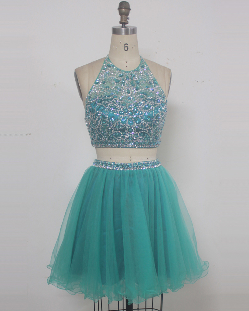 Light Green Short Prom Dress, Short Prom Dresses,Two Piece Short ...