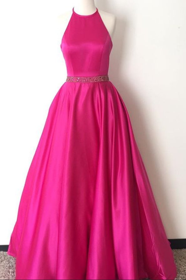 Prom Dress,Halter Prom Dress,Hot Pink Satin Evening Dress,Long Prom  Dress,Evening Dresses For Teens,Backless Formal Gowns,Prom Dresses Plus  Size,Women ...