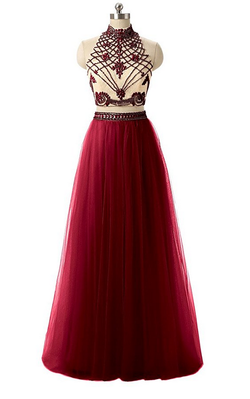 Two Piece High Neck Beaded Bodice Prom Dresses with Tulle Skirt