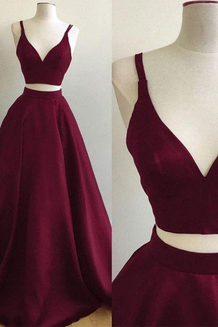Prom Dresses,Prom Dress,Burgundy Long Floor Length Prom Dress 2 pieces Evening Gowns