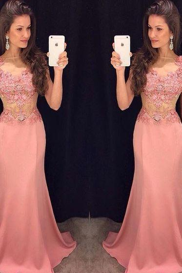 Prom Gown,Pink Prom Dresses With Lace,Evening Gowns,Mermaid Formal Dresses,Pink Prom Dresses