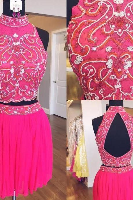 Halter Two Piece Beaded Homecoming Dresses Wedding Party Dresses Formal Dresses Sweet 16 Dresses Banquet Dresses