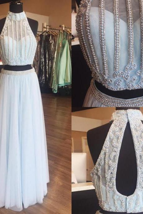 Two Piece Halter Beaded Celebrity Prom Dresses Wedding Party Dresses Formal Gowns