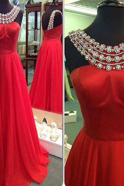 Halter Beaded Red Prom Dresses Graduation Party Dresses Formal Dresses Banquet Gowns
