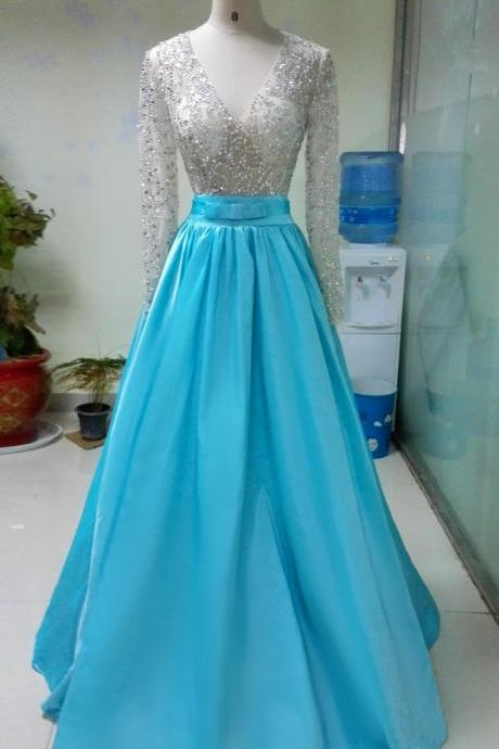 long sleeves beaded dress Full Sleeve Prom Dress,Sexy Prom Dresses,Satin Evening Dress