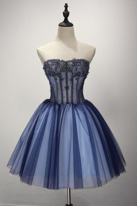 Homecoming Dresses New Arrival With Crystal Beaded A-line Strapless Blue Bridesmaid dresses