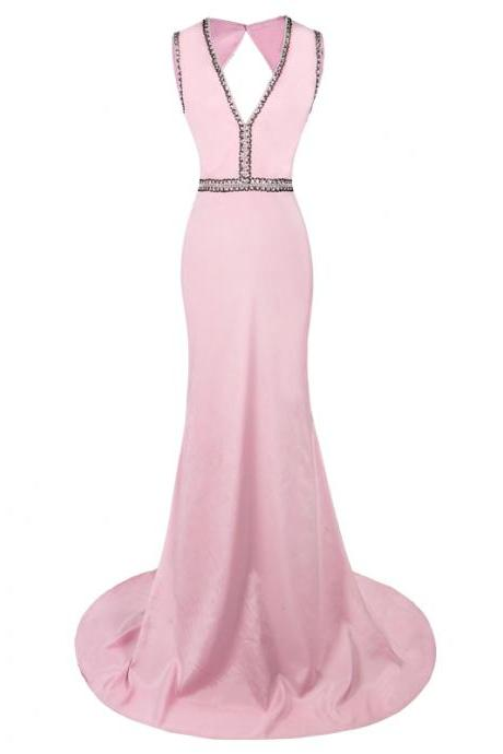Pink Sleeveless Mermaid Evening Dresses Beaded Bodice Flower Prom Party Formal Evening Gowns