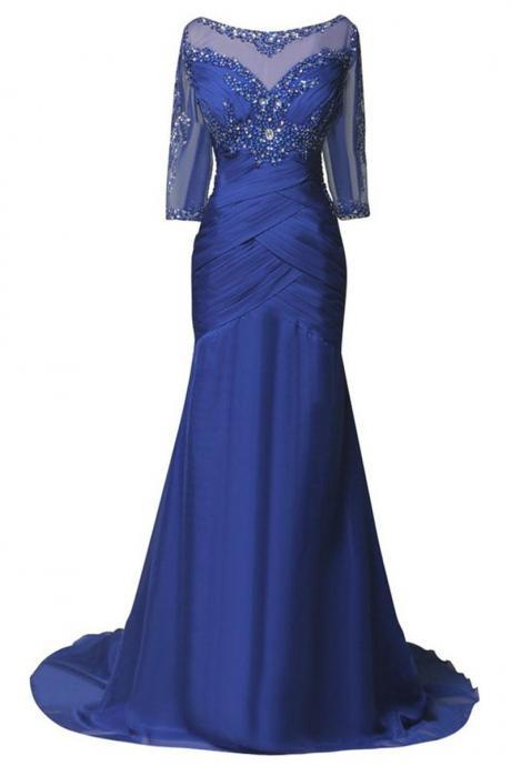 Formal Dresses Plus Size Women Evening Dresses Mermaid Elegant Royal Blue Chiffon Long