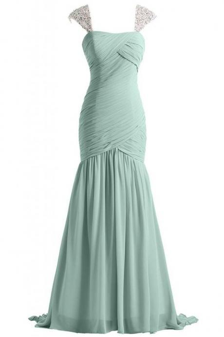 Vestido De Festa Casamento Real Photos Mint Green Chiffon Long Elegant Evening Dresses