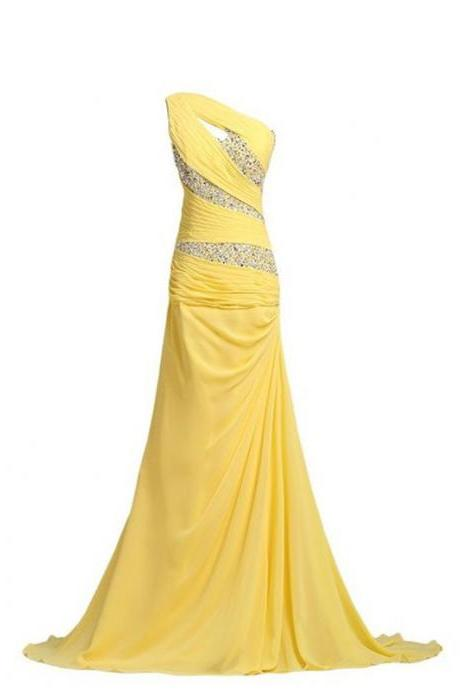 Sexy One Shoulder Evening Dress Chiffon Mermaid Yellow Evening Gowns