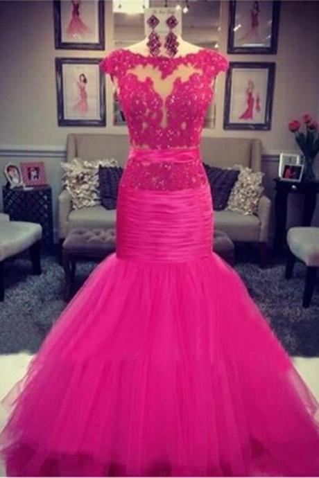 Pink Tulle Mermaid Evening Dresses Long Noche Largos Elegantes