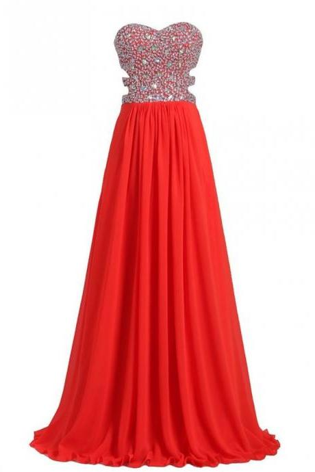 Rhinestones Evening Gown Festa Curto Red Chiffon A Line Floor Length Evening Dresses