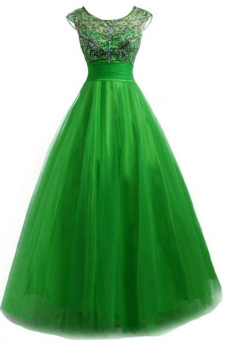 Backless Evening Long Dress Robe Courte Ceremonie Beaded Emerald Green Party Dresses