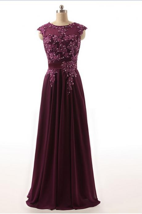 Robe De Mariage Real Photos Dark Purple Chiffon A Line Long Evening Dress
