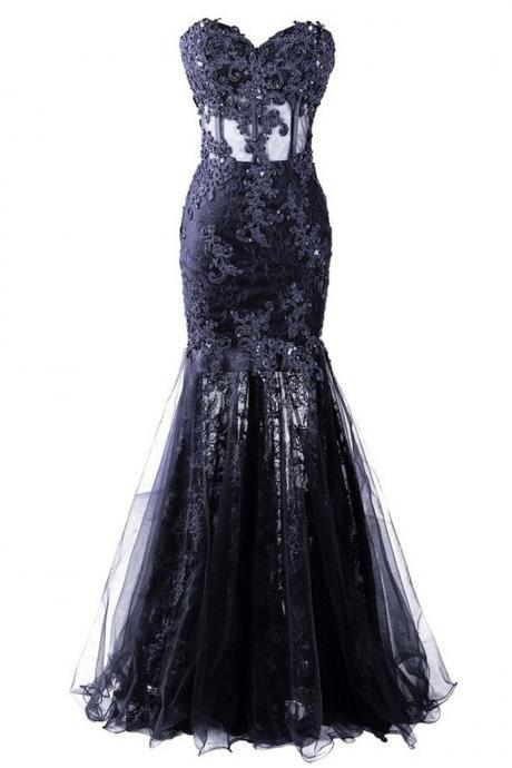 Dresses Evening Festa Azul Sexy Black Appliques Mermaid Prom Gowns