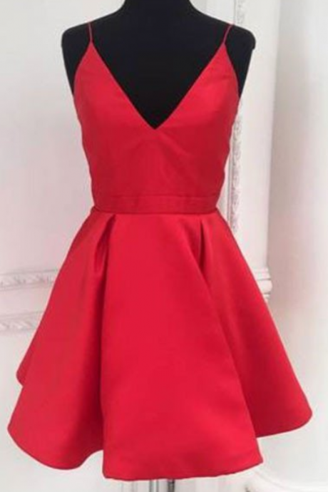 Red Homecoming Dress, Straps Short Red Party Dress