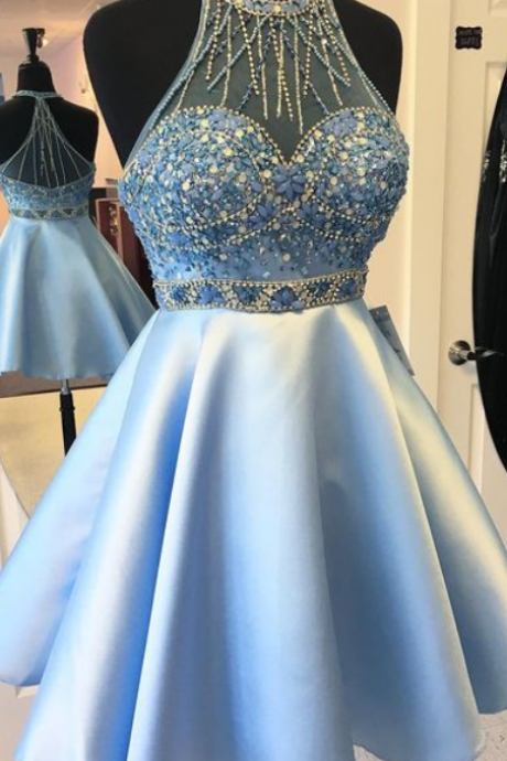 Popular Homecoming Dress,Beaded Short Dress,Sleeveless Halter Cocktail Dress