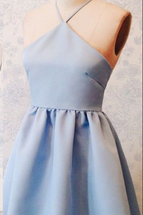 A-Line Halter Above-Knee Lace-Up Blue Stretch Satin Homecoming Dress
