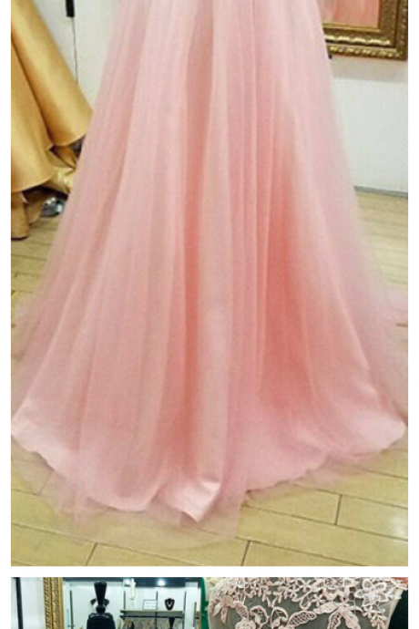Appliques Pink Evening Dress Cheap V-Neck Lace Beading Sleeveless A-line Prom Dresses