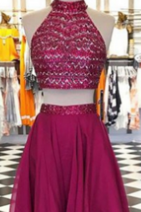 Short A-line Sleeveless Backless Halter Sequin Short/Mini Homecoming Dress
