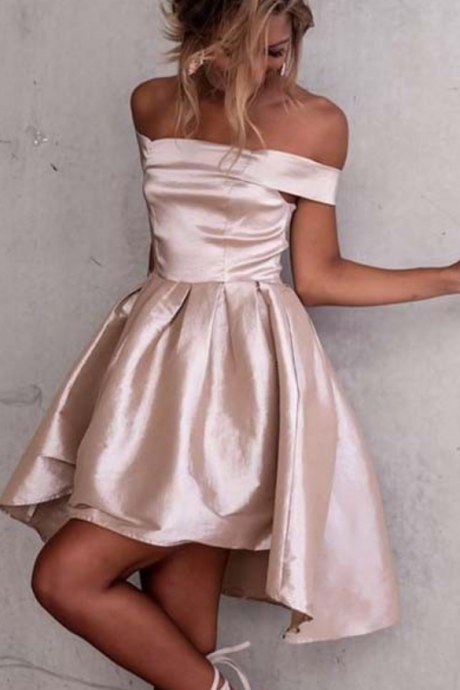 Zipper Pleated Satin Asymmetrical Off-the-Shoulder A-line Short Sleeves Homecoming Dress On Sale Dresses