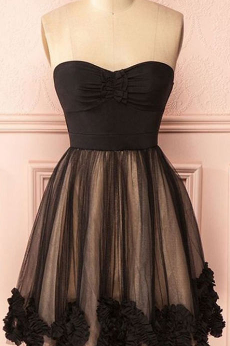 Cute Black Sweetheart Tulle Homecoming Dresses