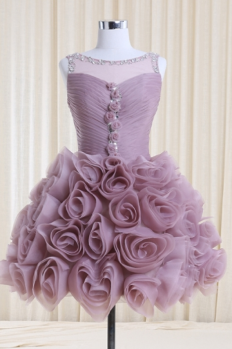 Lilac Bateau Neck Handmade Flowers Homecoming Dresses