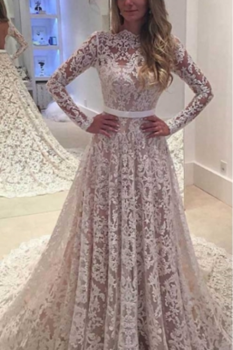 Romantic A Line Long Sleeves Backless Lace Wedding Dresses