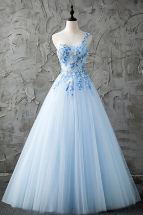Blue One-Shoulder A-Line Beading Pleats Floor-Length Prom Dresses