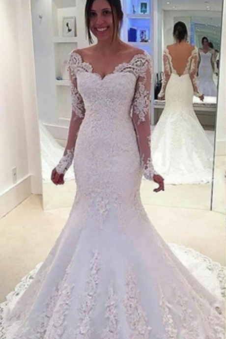 Off-the-Shoulder Backless Long Sleeves Court Train Mermaid Wedding Dress