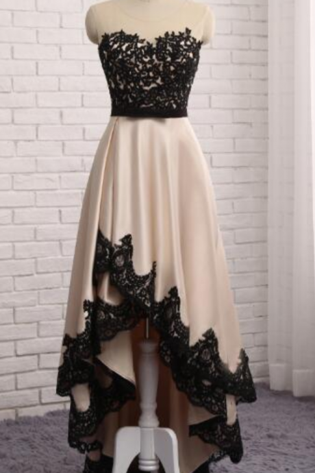 Evening Dress Front Short Back Long Black Lace Champagne Prom Dresses